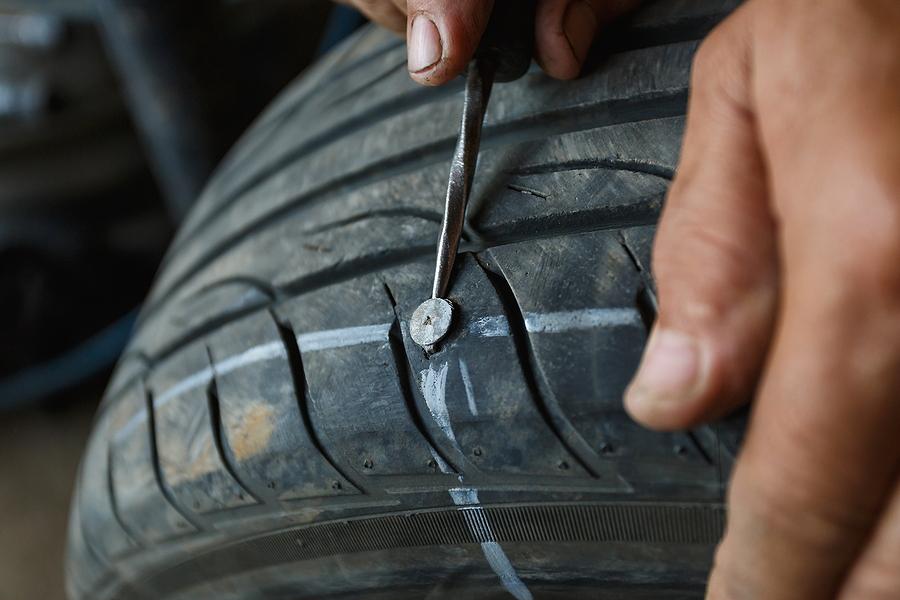 wheel in a repair shop