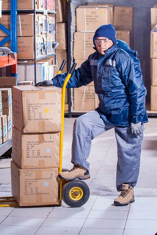 man working in a logistic facility